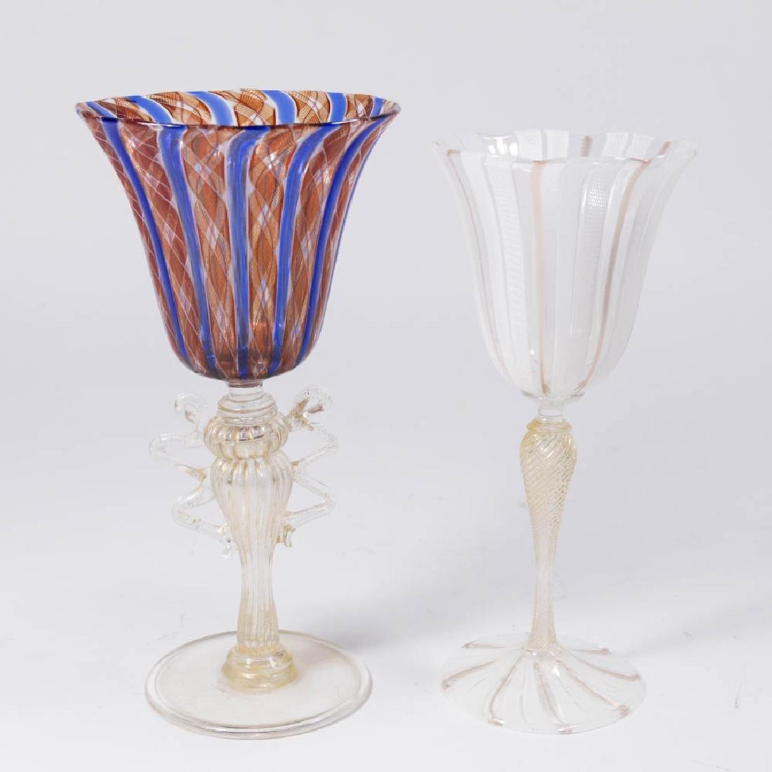 2 Venetian Swirl Colored Glass Goblets