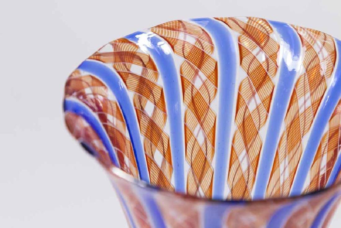 2 Venetian Swirl Colored Glass Goblets - 2