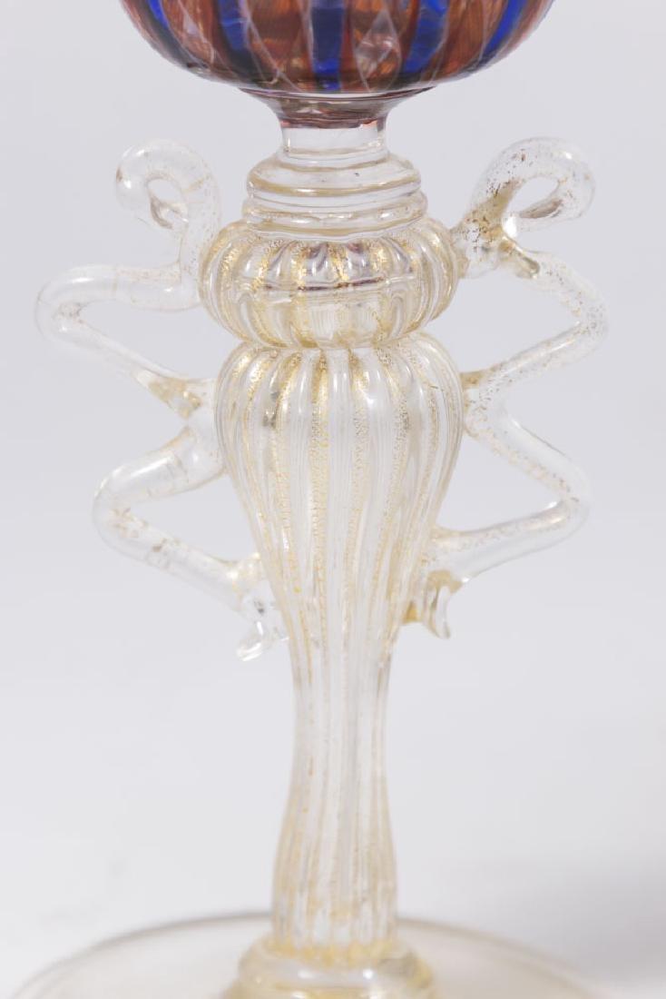 2 Venetian Swirl Colored Glass Goblets - 4