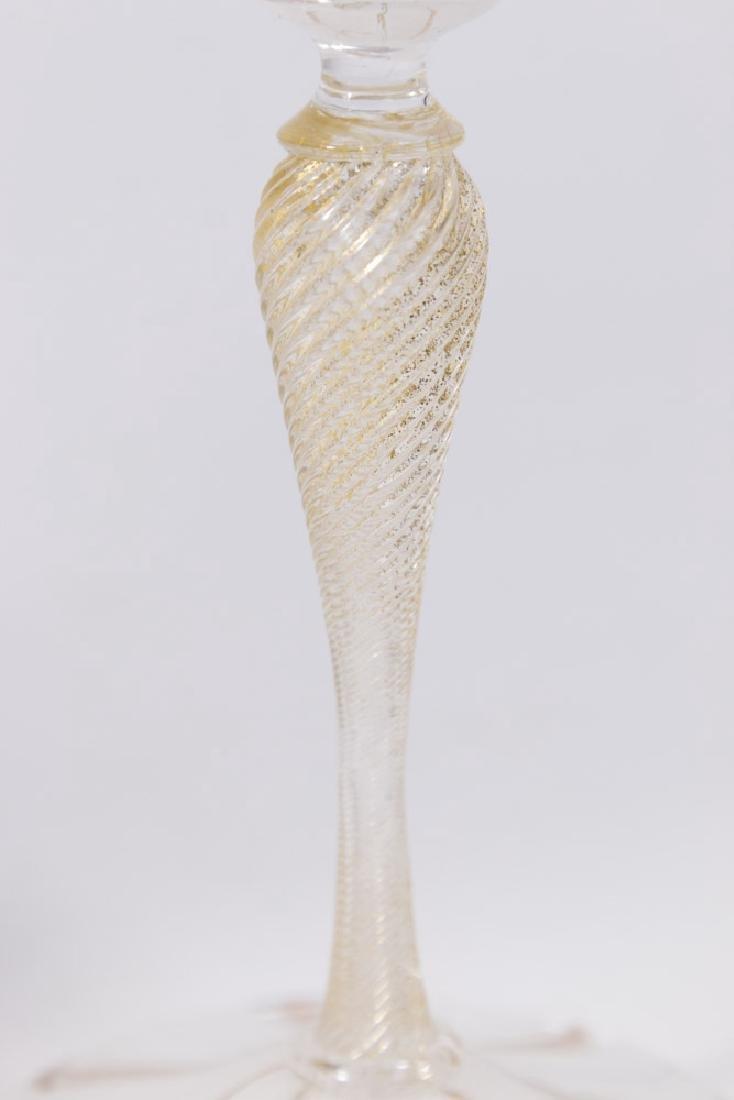 2 Venetian Swirl Colored Glass Goblets - 5