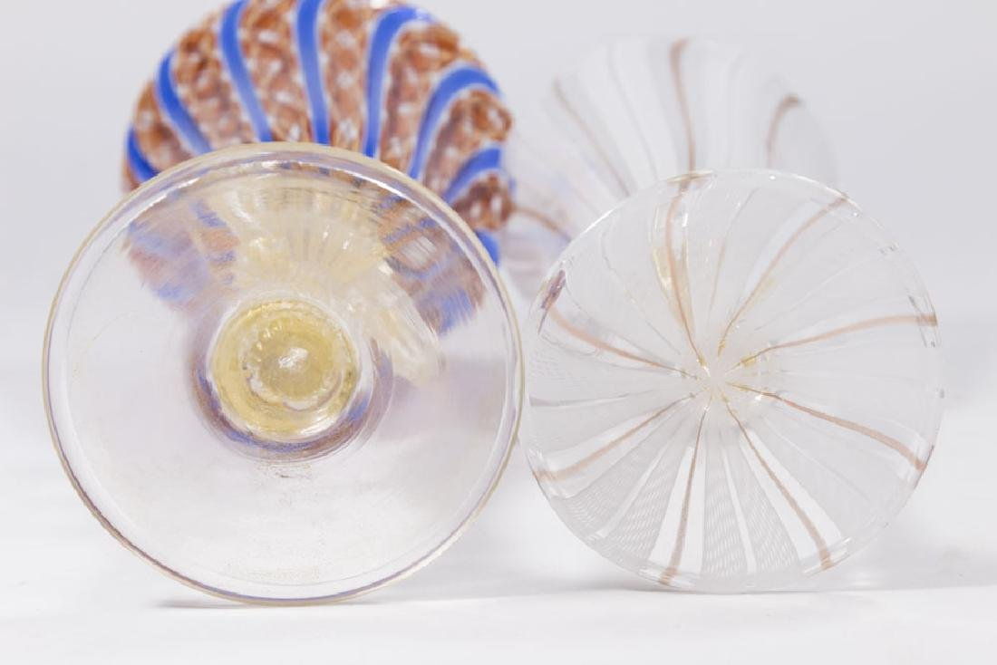 2 Venetian Swirl Colored Glass Goblets - 8