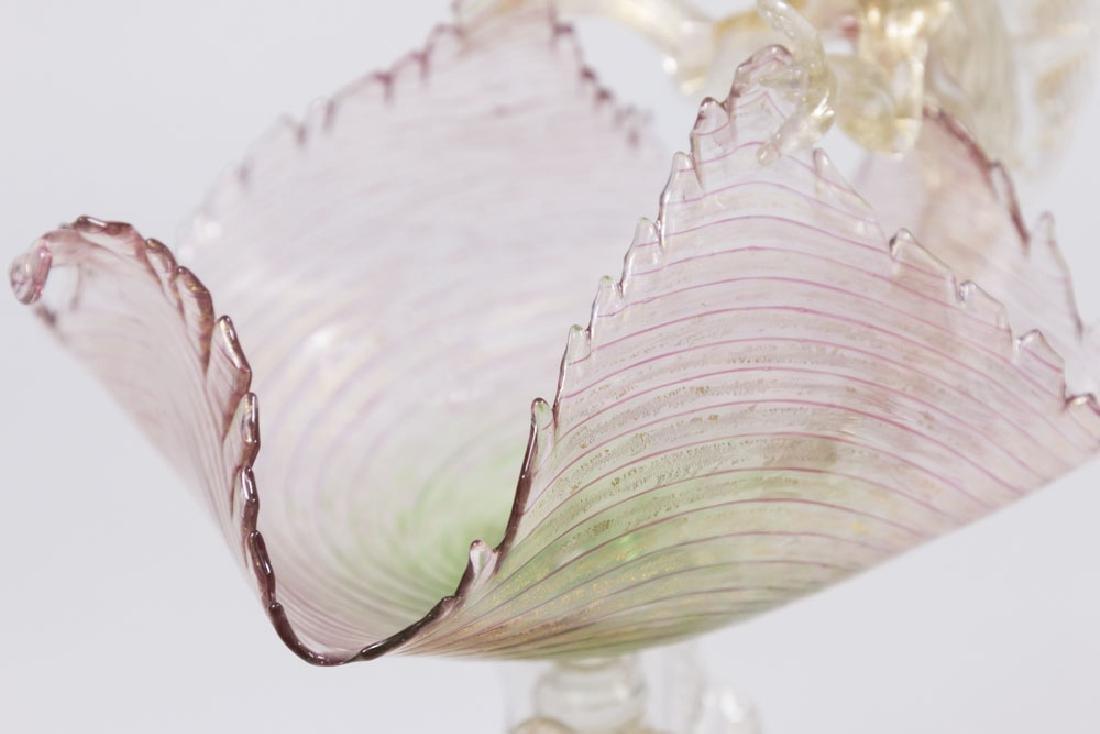 Venetian Gilt Rainbow Glass Dragons Compote - 3