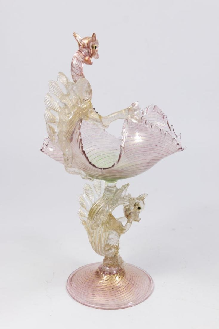 Venetian Gilt Rainbow Glass Dragons Compote - 6