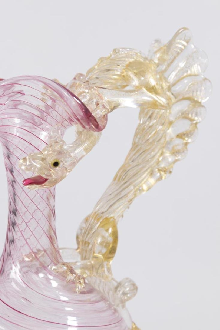 Venetian Gilt Rainbow Glass Dragon Handle Ewer - 2