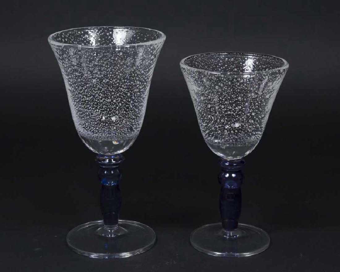 22 Venetian Blue Stemmed Goblets