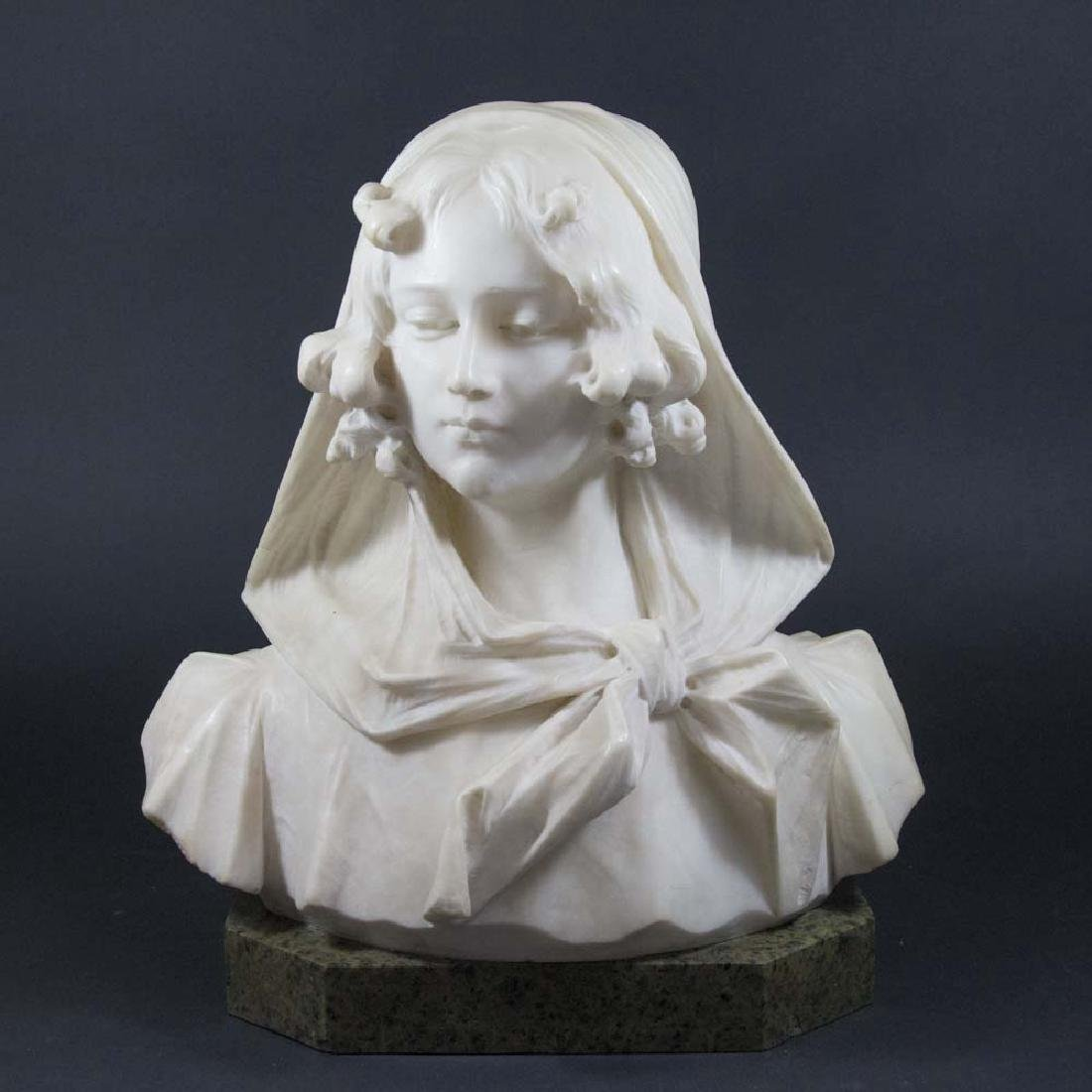 Alabaster Bust of Lady, Giovanni Pochini