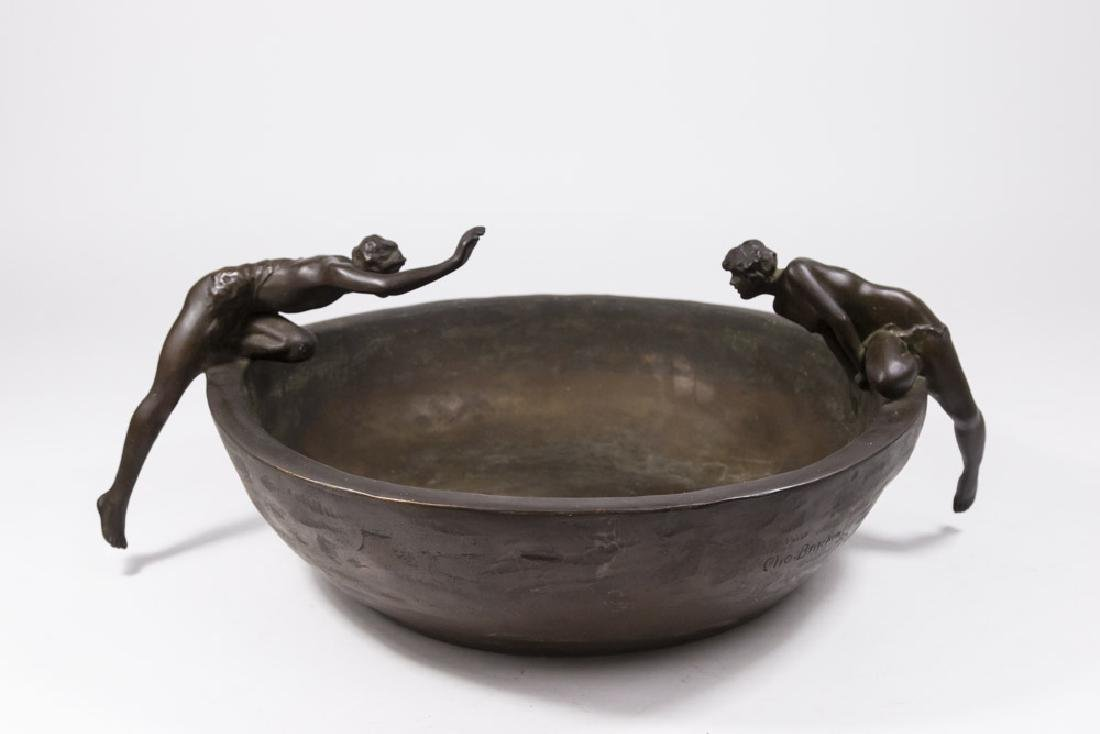 Clio Bracken Bronze Figural Center Bowl