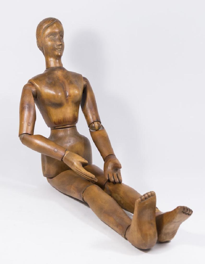 Vintage Articulated Wooden Female Mannequin