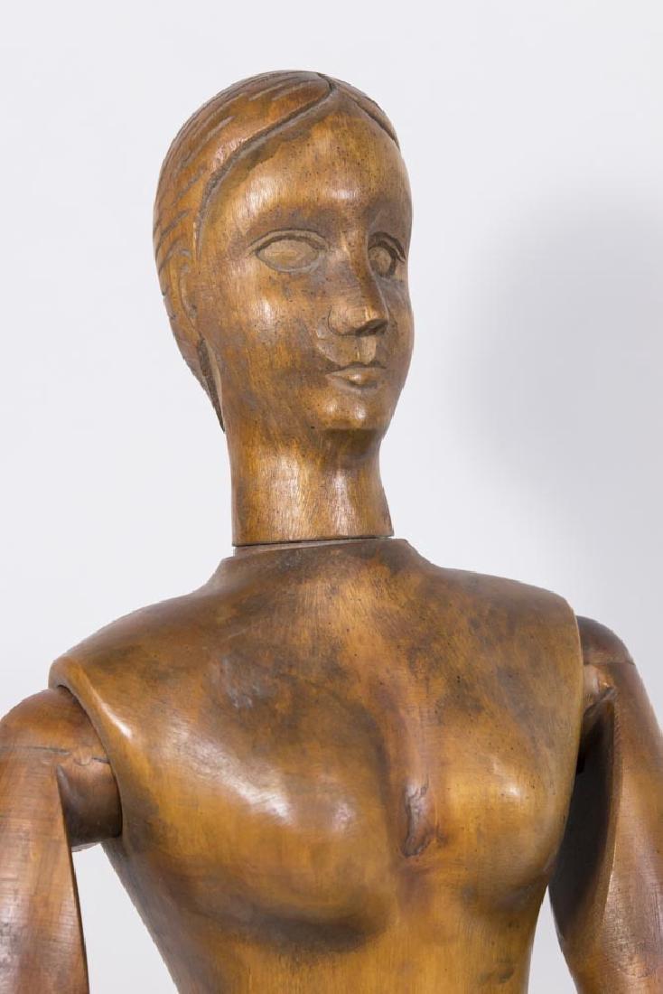 Vintage Articulated Wooden Female Mannequin - 2