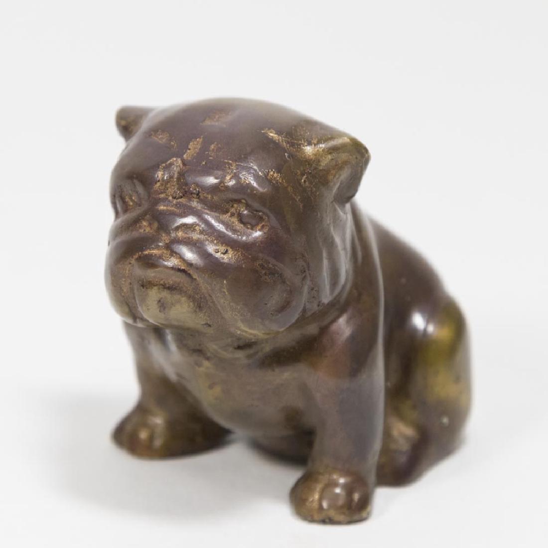 Spelter Monkey as Sculptor & Bronze Clad Bulldog - 2