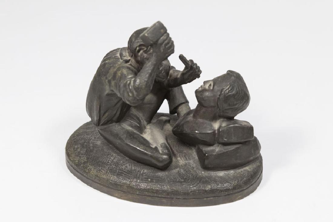 Spelter Monkey as Sculptor & Bronze Clad Bulldog - 3
