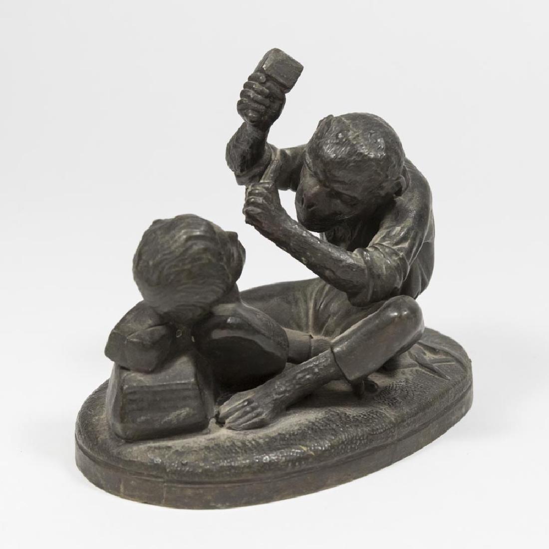 Spelter Monkey as Sculptor & Bronze Clad Bulldog - 4