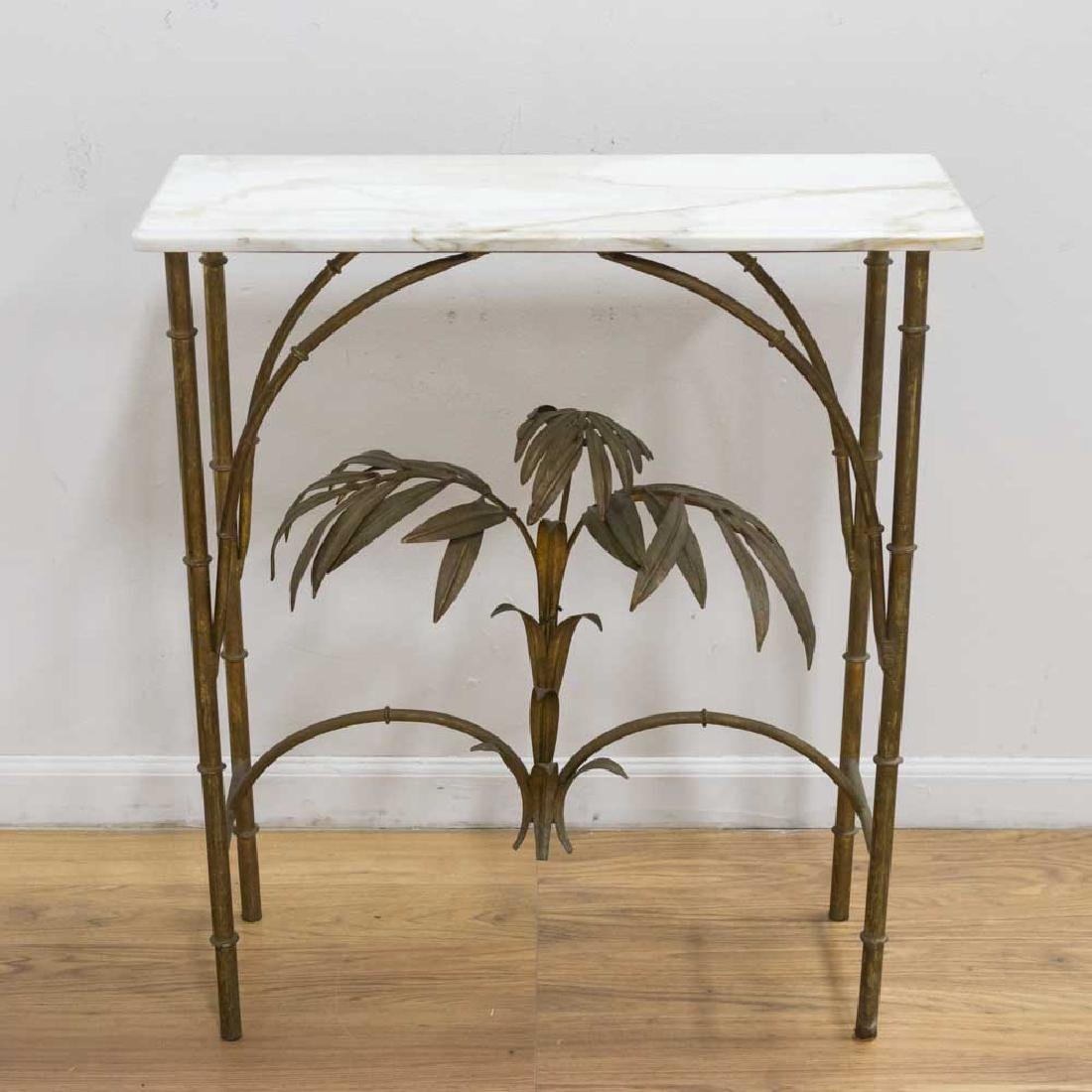 Mid-Century Gilt Metal Marble Top Console