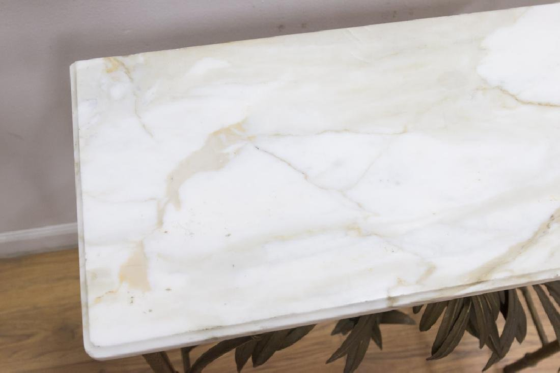 Mid-Century Gilt Metal Marble Top Console - 2