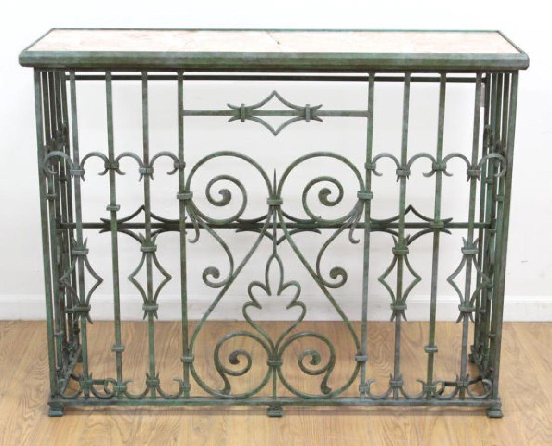 Wrought Iron Marble Top Console