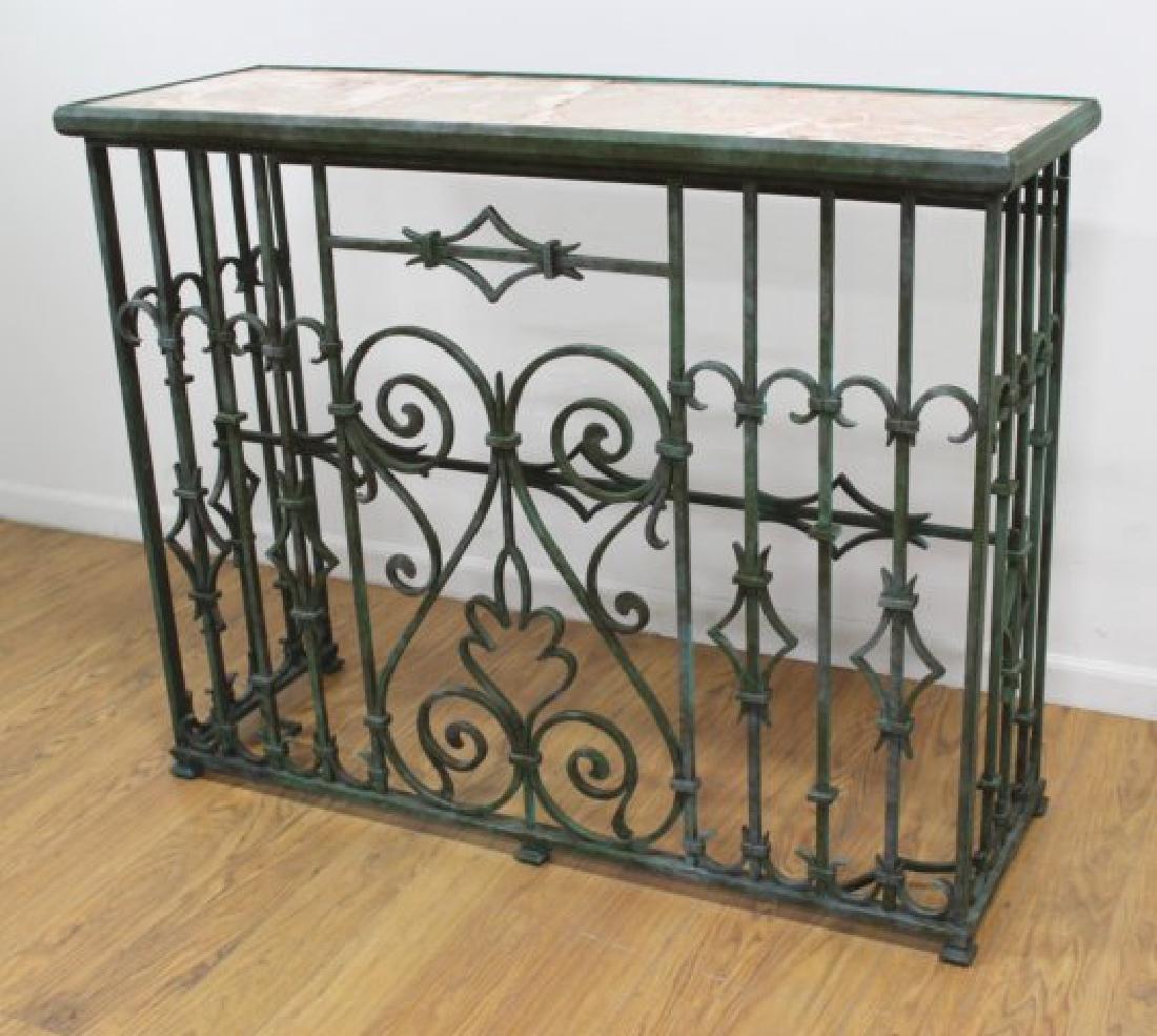 Wrought Iron Marble Top Console - 2