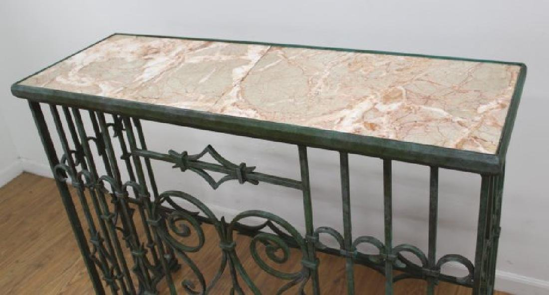 Wrought Iron Marble Top Console - 3