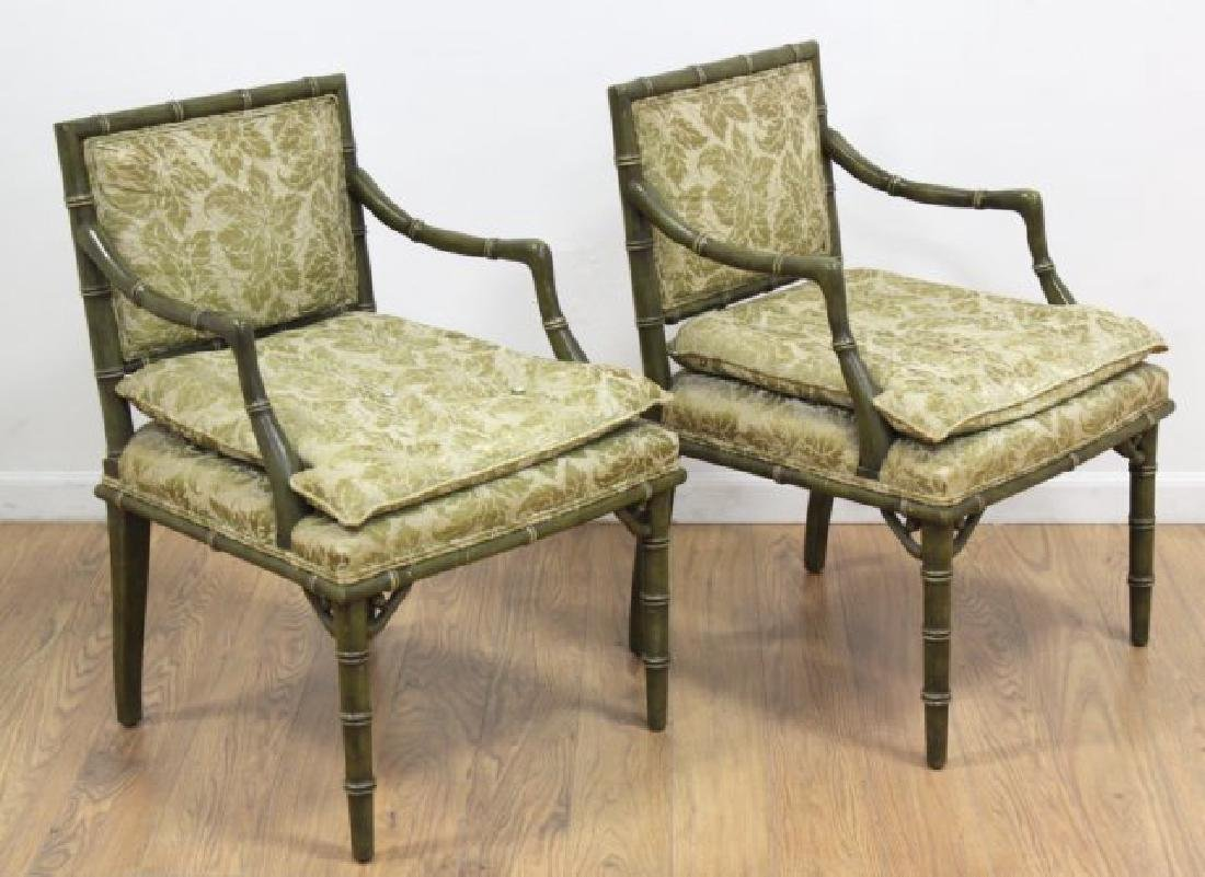 Pair Faux Bamboo Open Armchairs