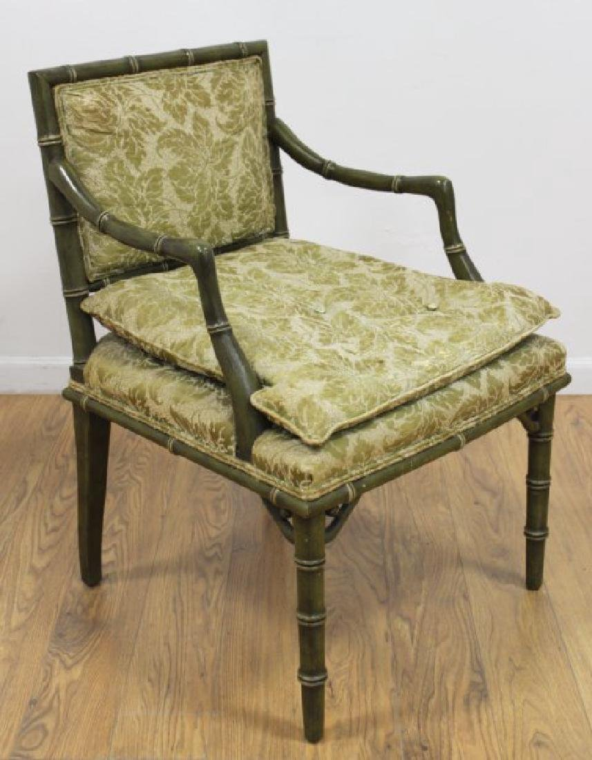 Pair Faux Bamboo Open Armchairs - 2