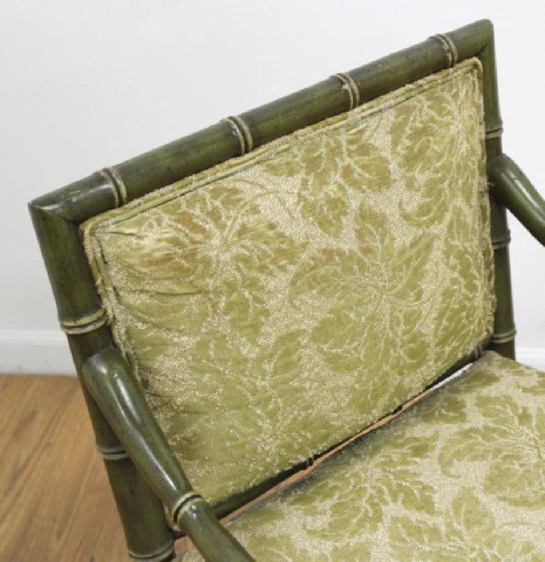 Pair Faux Bamboo Open Armchairs - 3