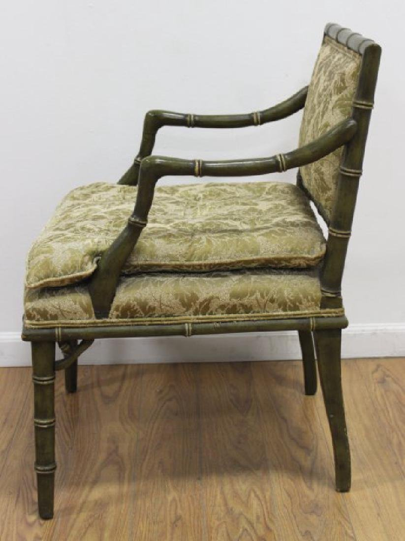 Pair Faux Bamboo Open Armchairs - 4