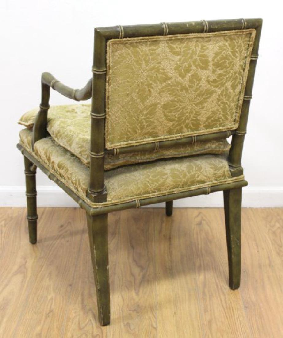 Pair Faux Bamboo Open Armchairs - 5