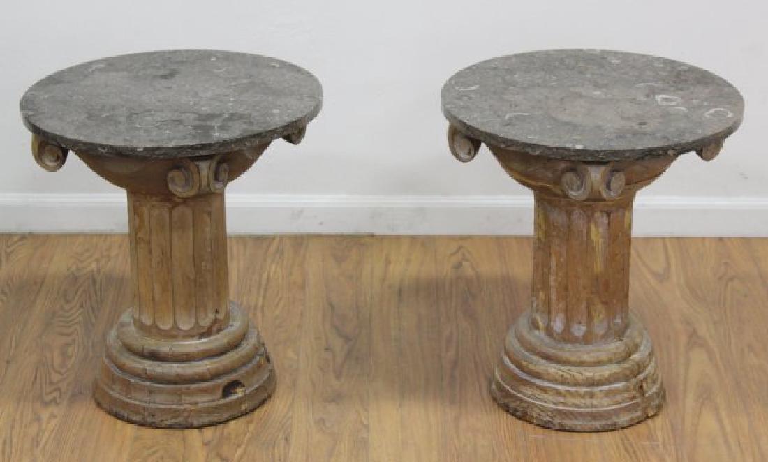 Pair Distressed Wood Marble Top Pedestals