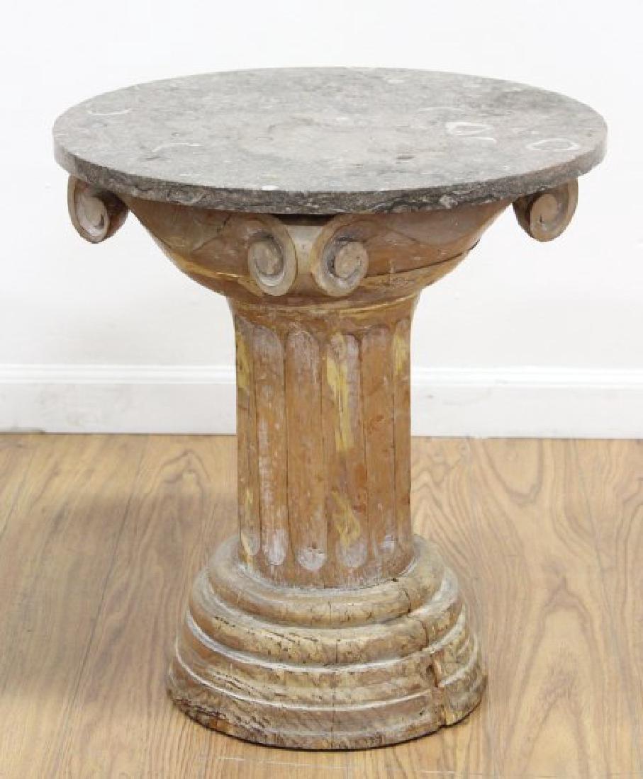 Pair Distressed Wood Marble Top Pedestals - 2