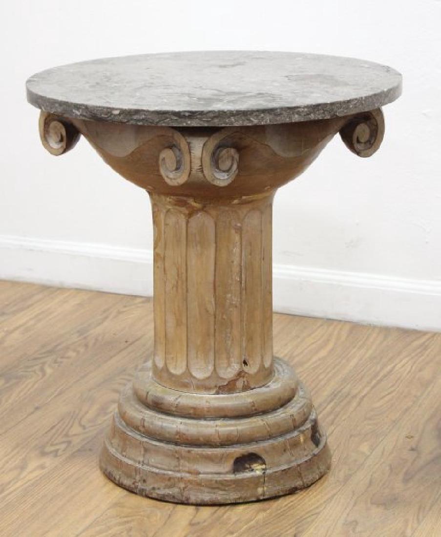 Pair Distressed Wood Marble Top Pedestals - 3