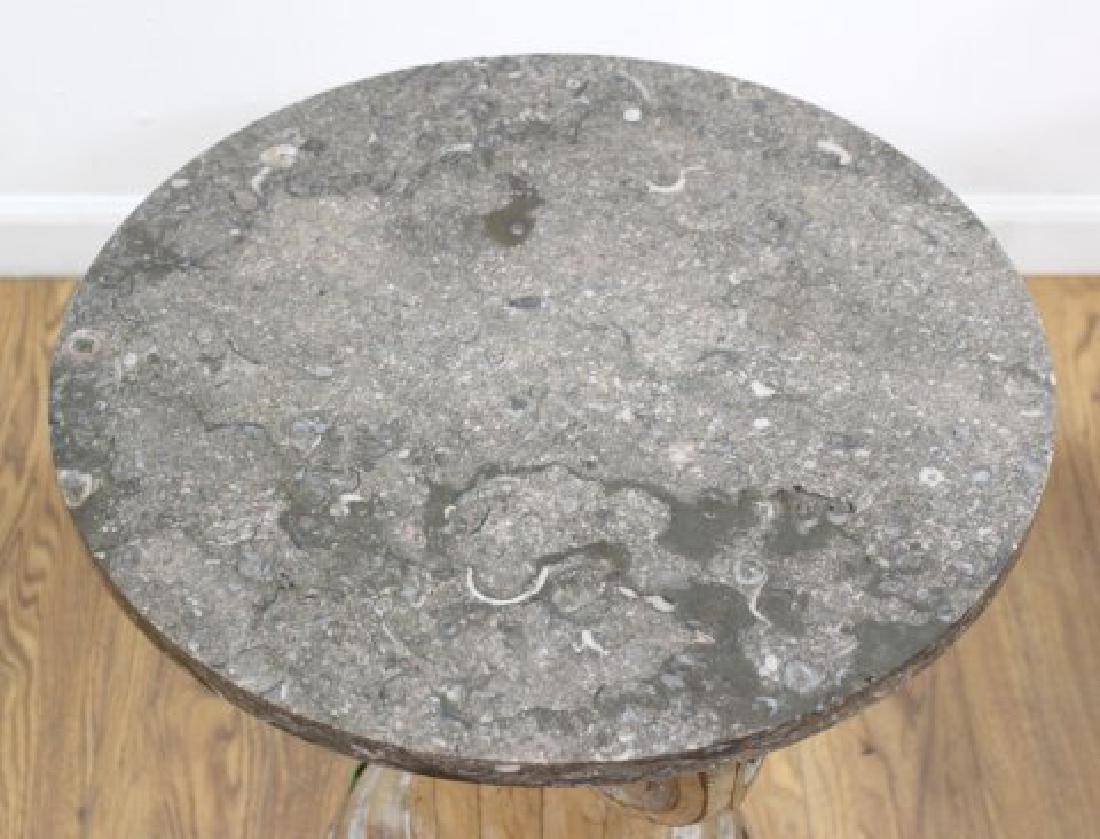 Pair Distressed Wood Marble Top Pedestals - 5