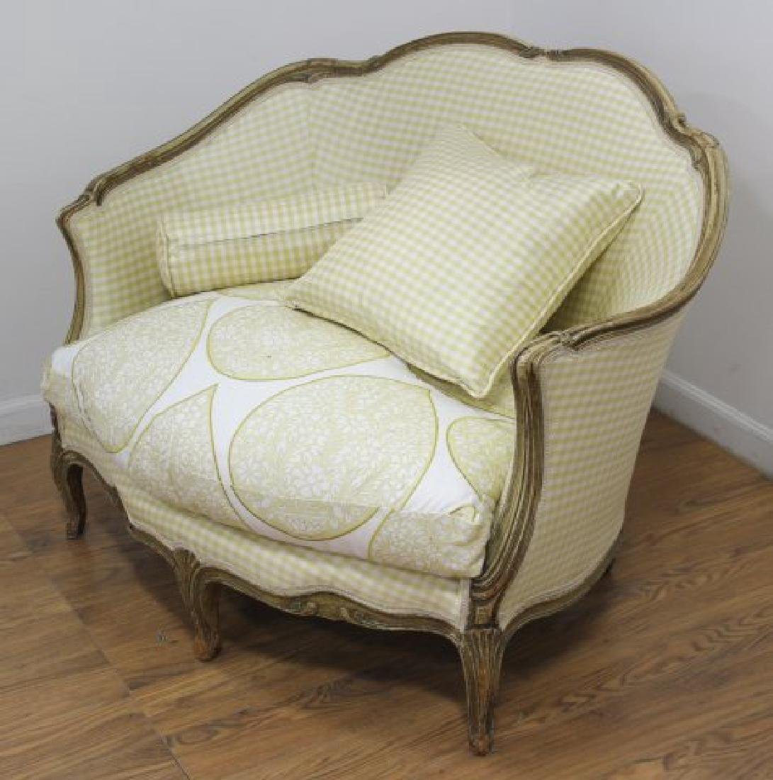French Louis XV Style Loveseat & Caned Chair - 2