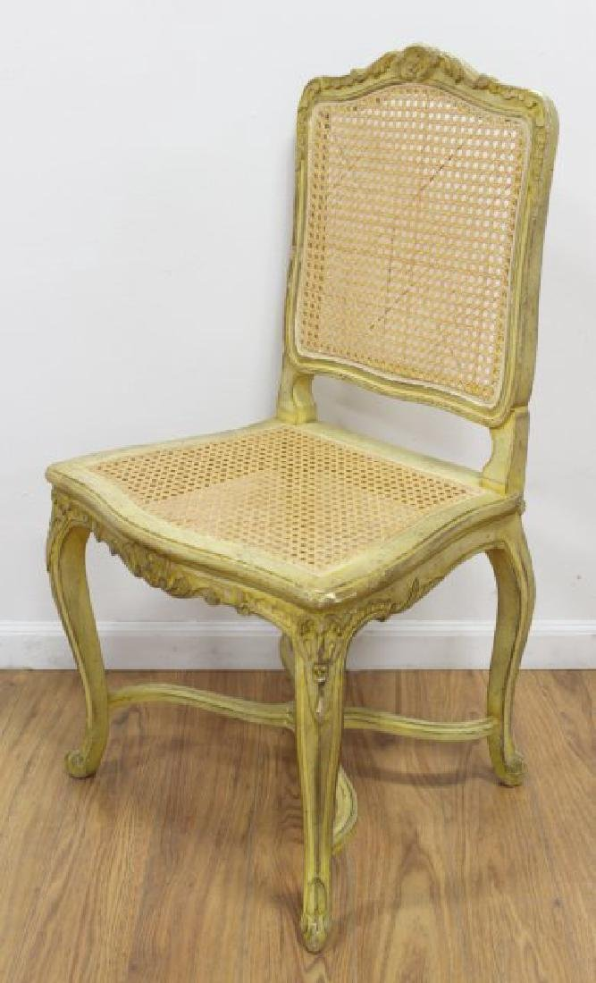 French Louis XV Style Loveseat & Caned Chair - 3