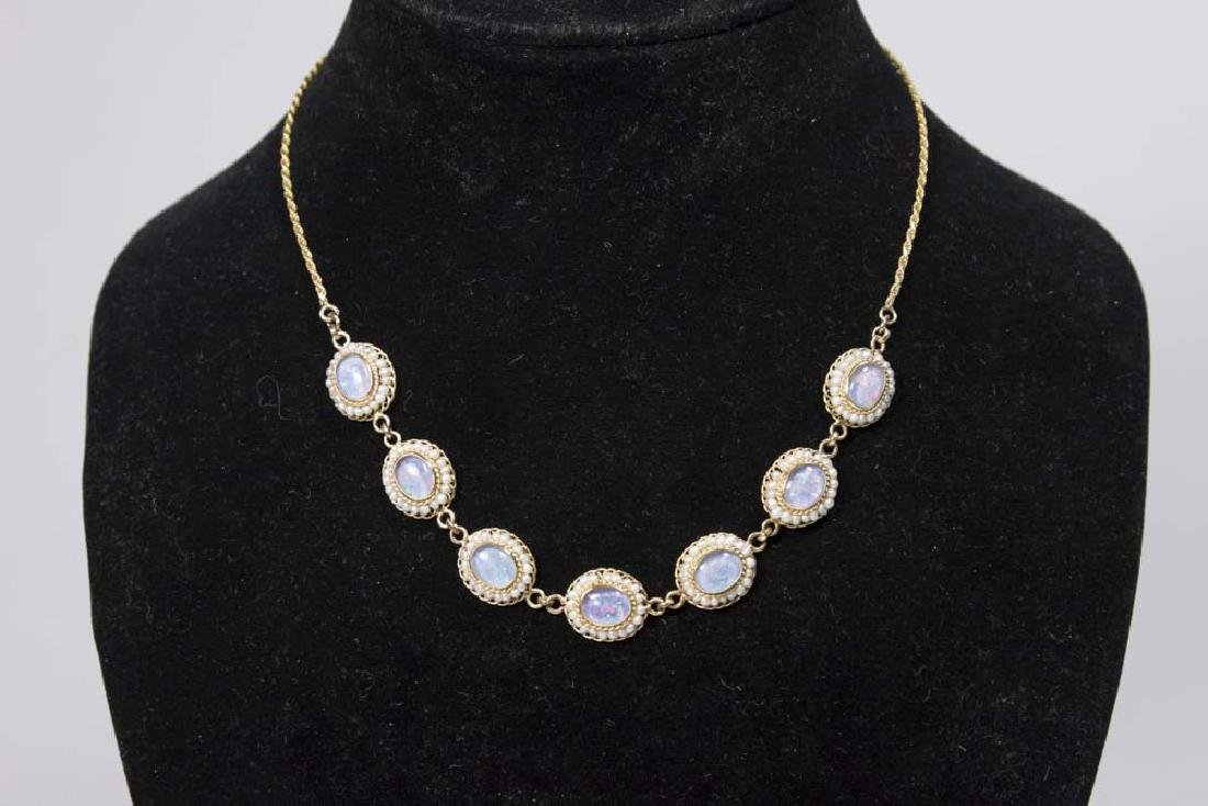 18 & 14K Gold Chain w/ Opal & Seed Pearls Necklace