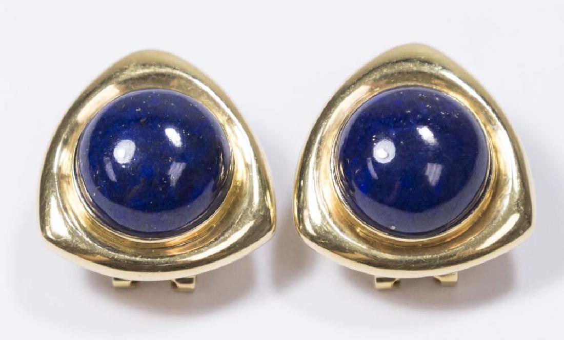 18K Yellow Gold & Lapis Lazuli Earrings