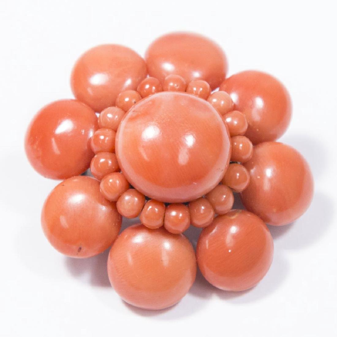 Coral Floral Pin