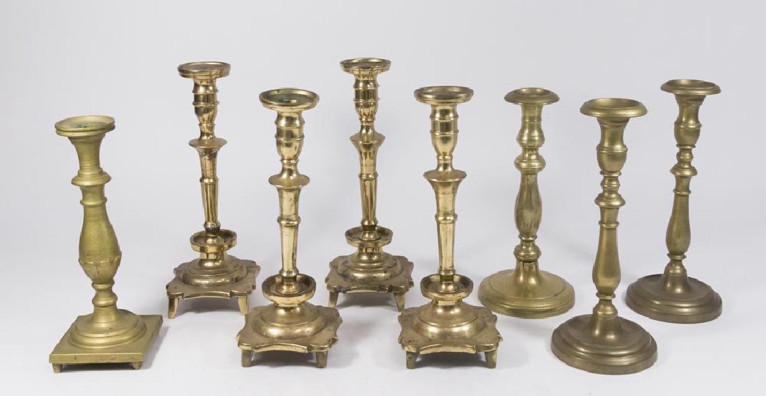 Group Lot 8 English Brass Candlesticks