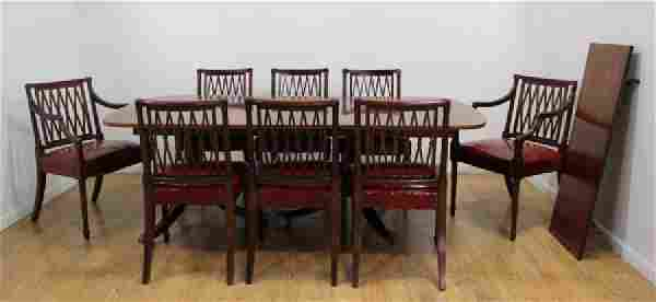 Banded Dining Room Table with 8 Matching Chairs