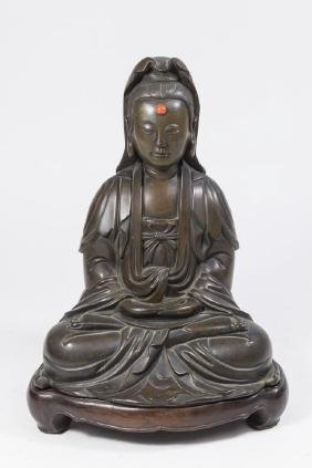 19th C. Chinese Bronze Sculpture Of Guanyin
