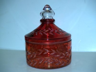 5: 3 RED CUT TO CLEAR GLASS CONTAINERS