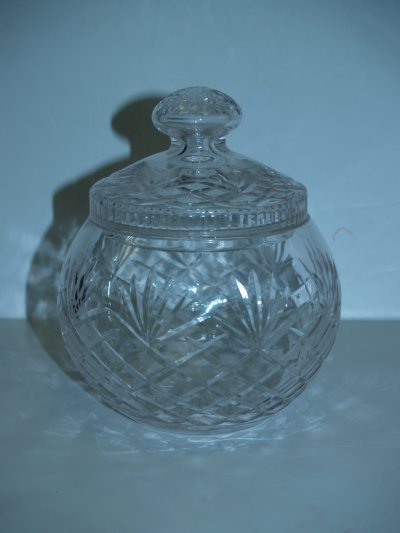 8: TWO ROUND COVERED CRYSTAL JARS