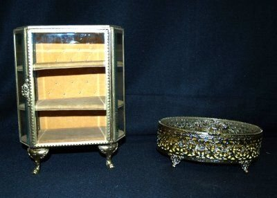 16: 2 BEVELLED GLASS & BRASS JEWELRY BOXES