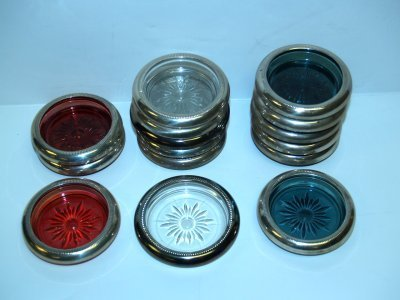 17: SILVER PLATE & STERLING COASTERS