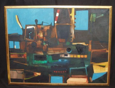 176: OIL ON CANVAS ABSTRACT MACHINE BY JOHN HULTBERG