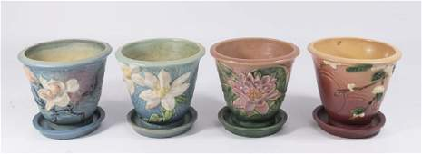 4 Roseville Flower Pots with Drip Plates