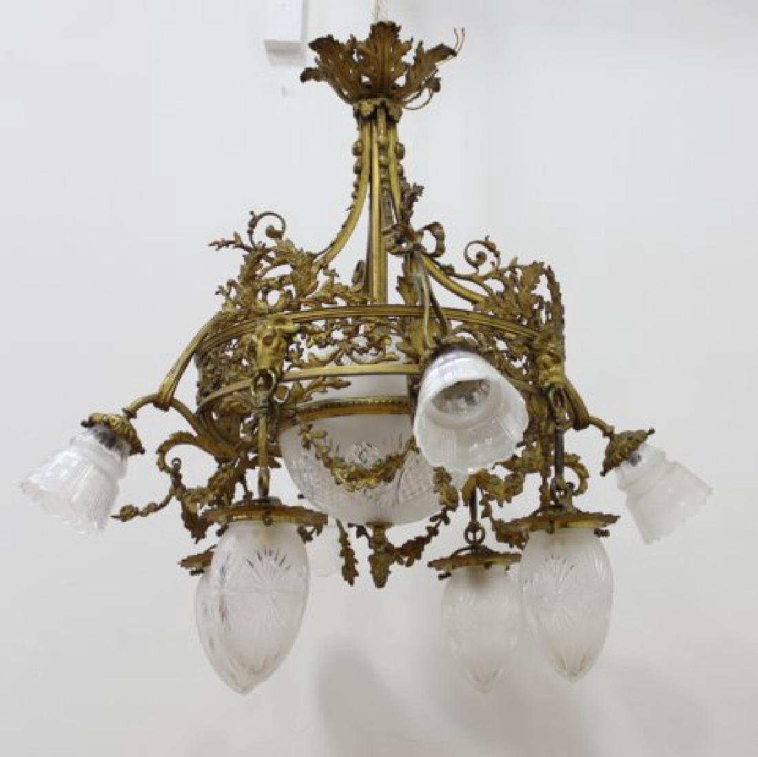 French 9 Light Bronze & Crystal Chandelier
