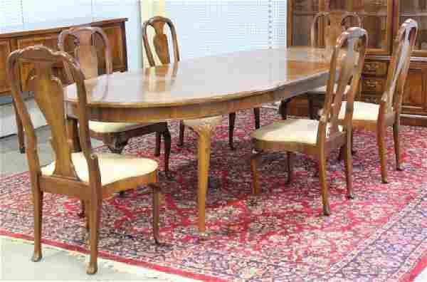 Oval Banded Henredon Dining Room Table & Chairs