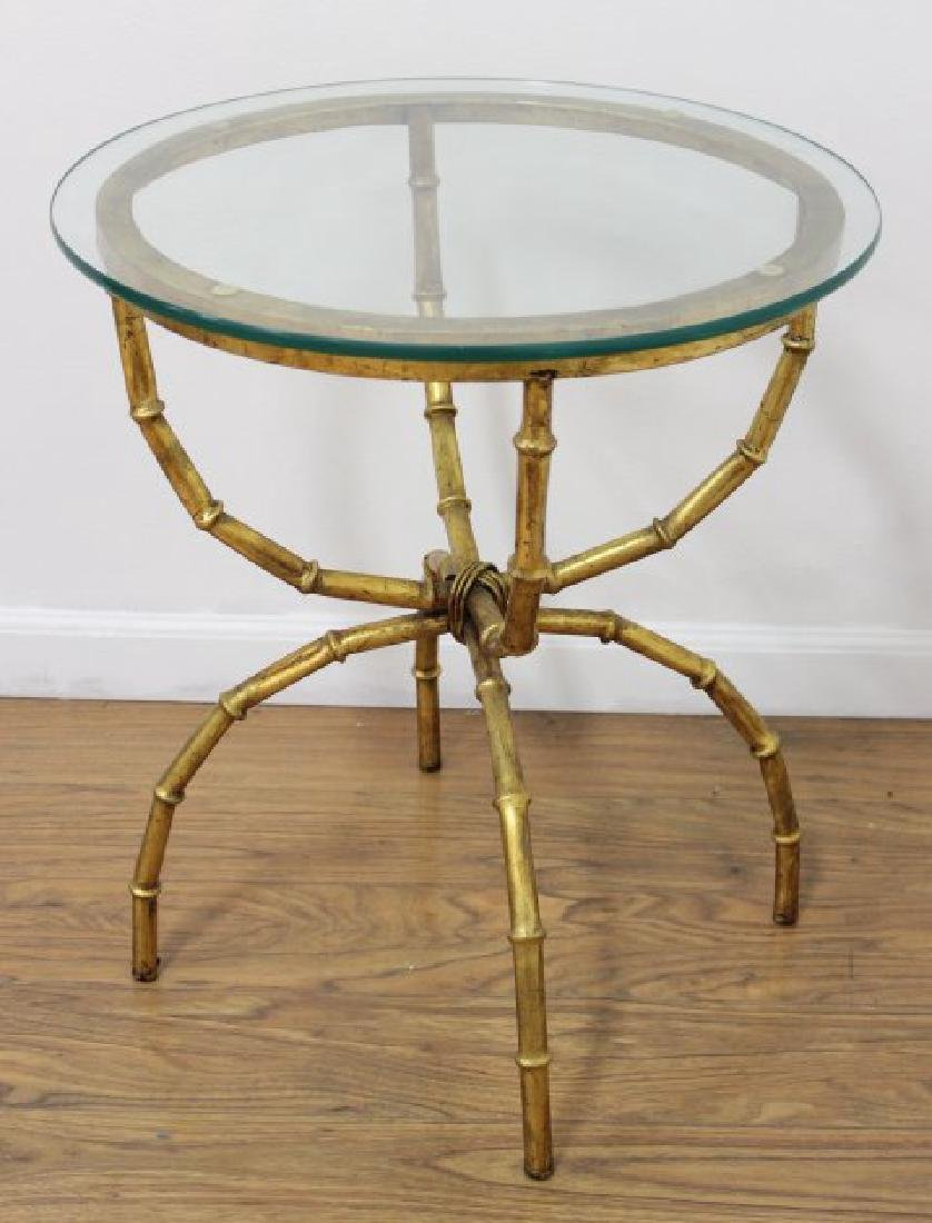 Gilt Metal Faux Bamboo Taboret Table