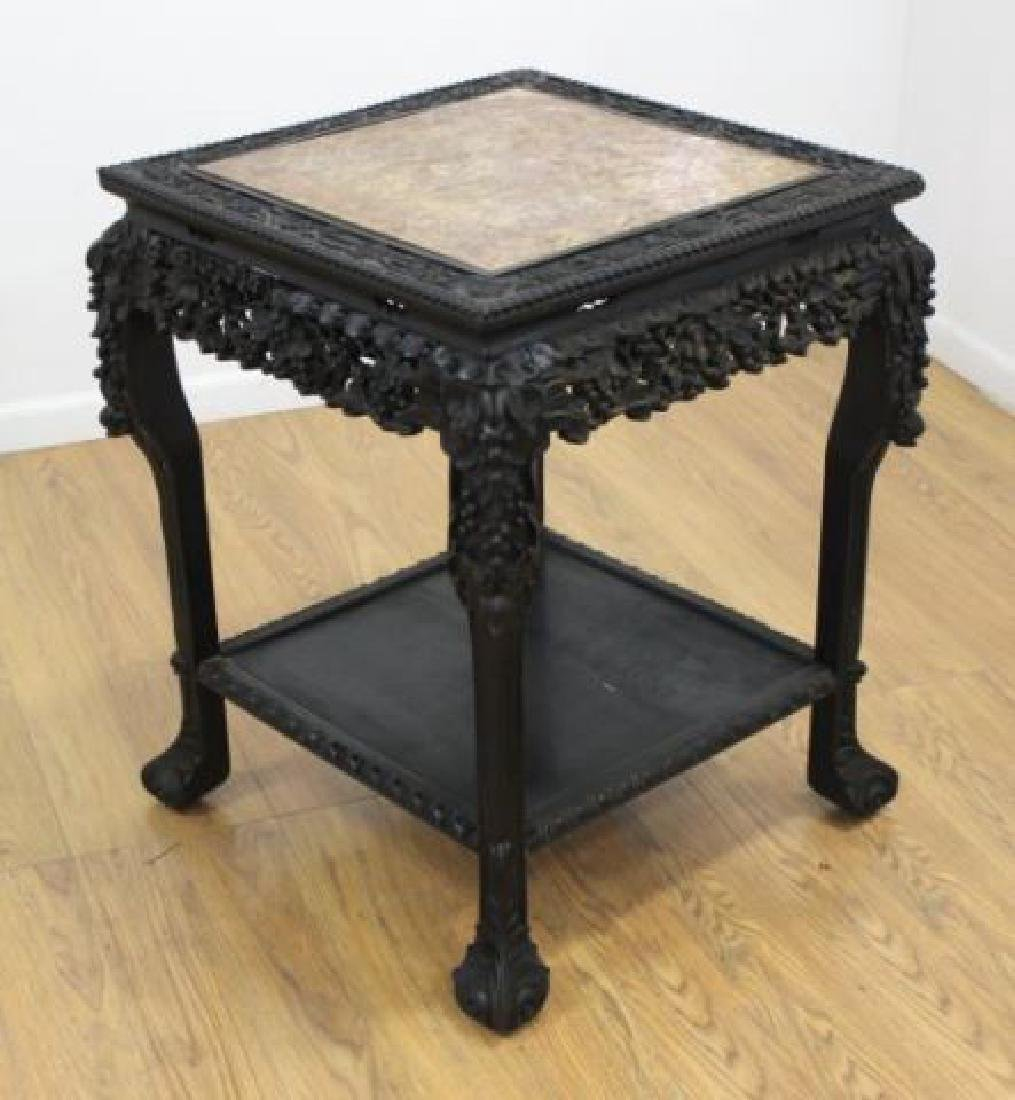 Hardwood Marble Carved 2 Tier Table