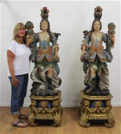 Pr Continental Polychrome Carved Figural Torcheres