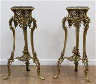 Pair of Marble Top Bronze Stands